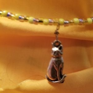 Cat necklace with yellow and gold seed choker styl